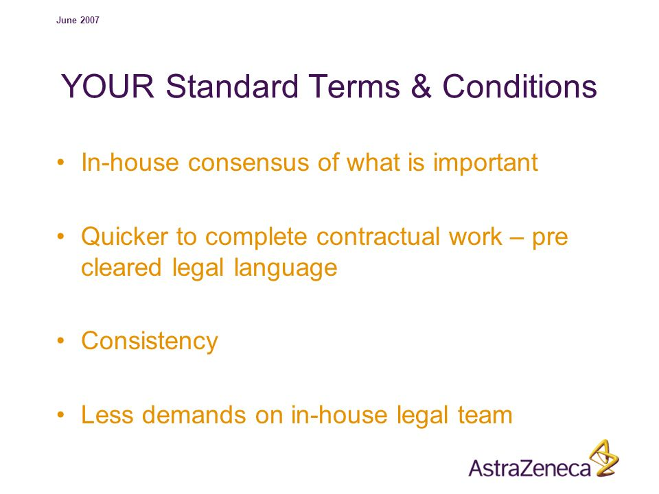 YOUR Standard Terms & Conditions