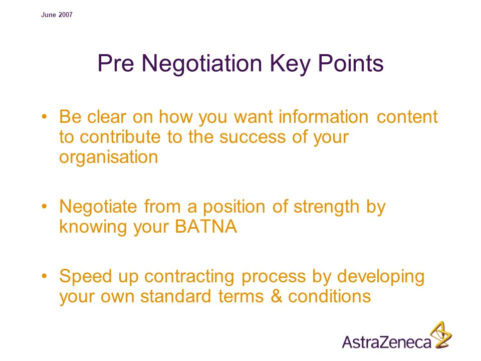 Pre Negotiation Key Points
