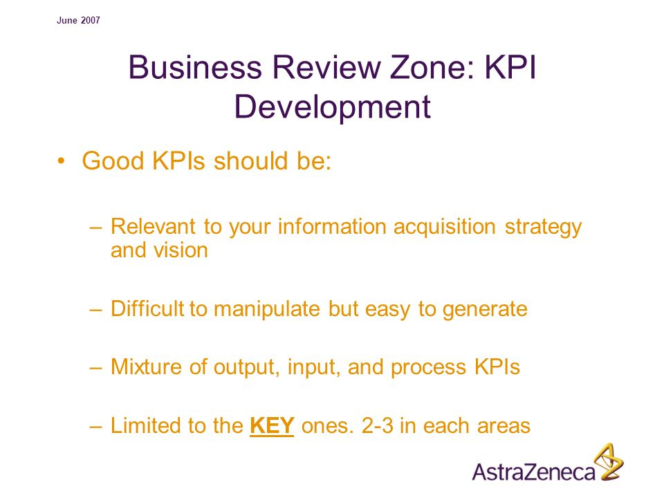 Business Review Zone: KPI Development