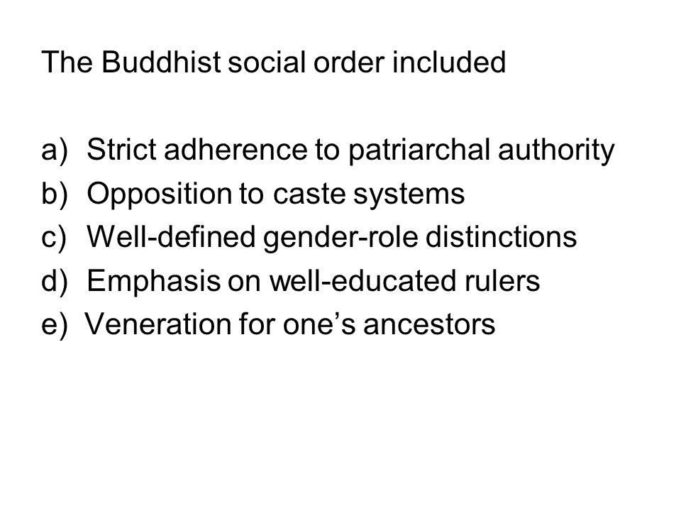 The Buddhist social order included