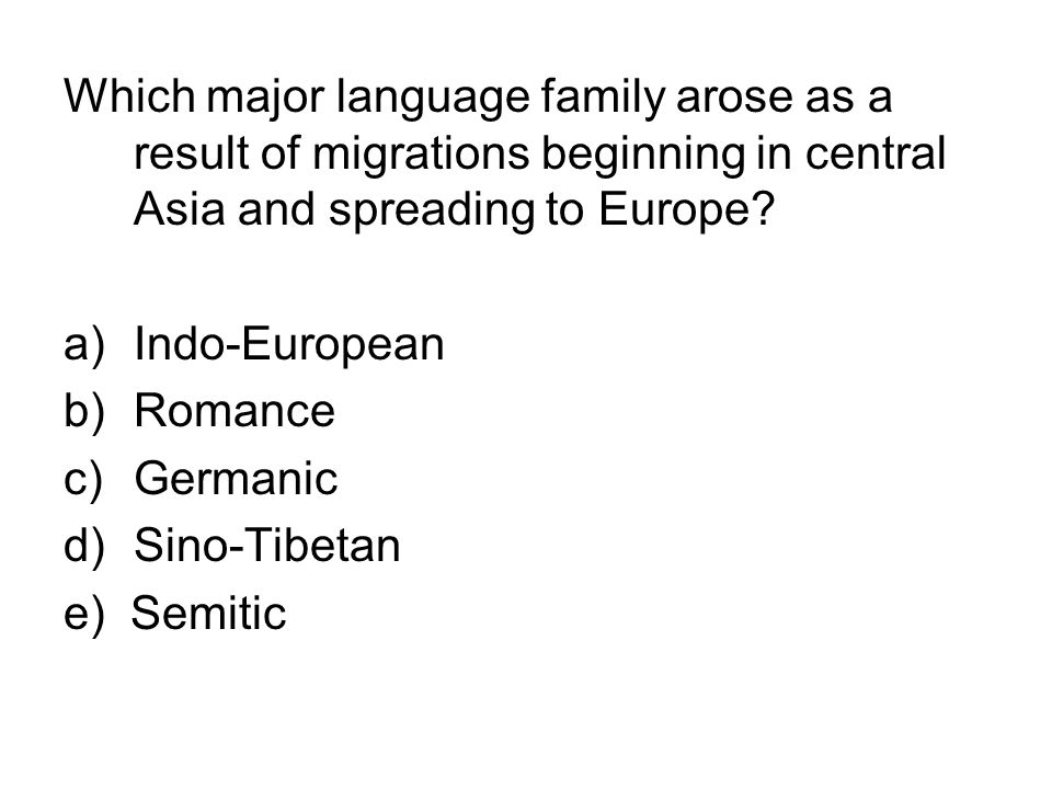 Which major language family arose as a result of migrations beginning in central Asia and spreading to Europe