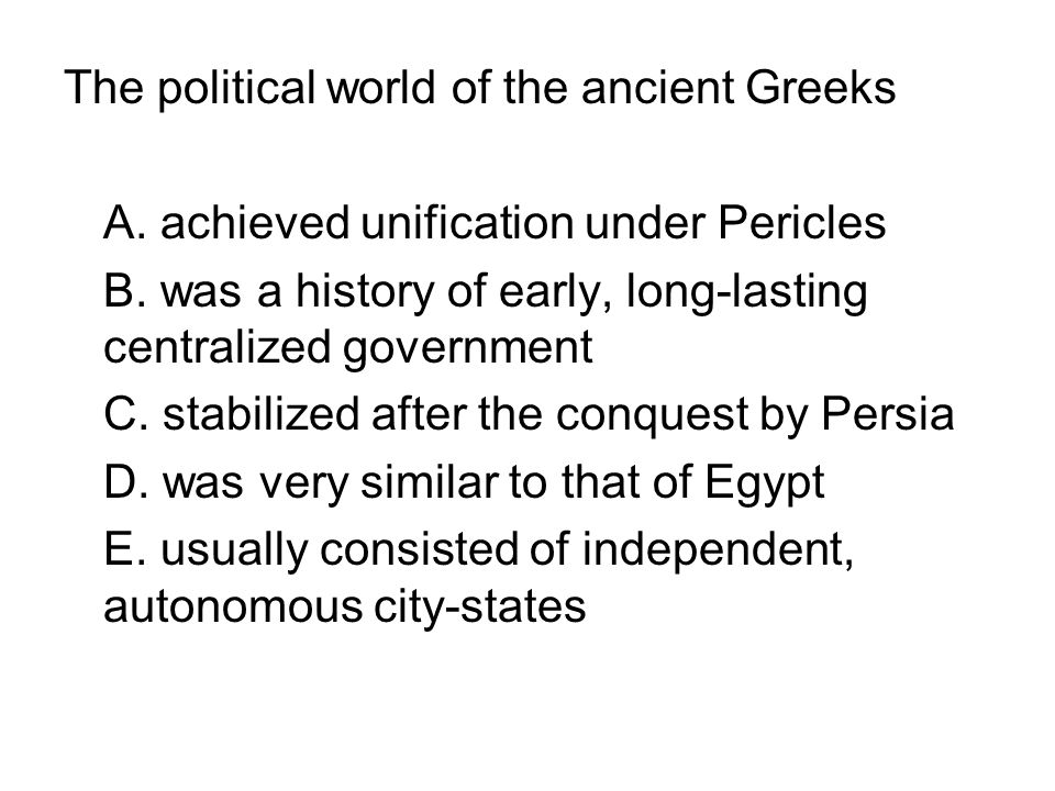 The political world of the ancient Greeks