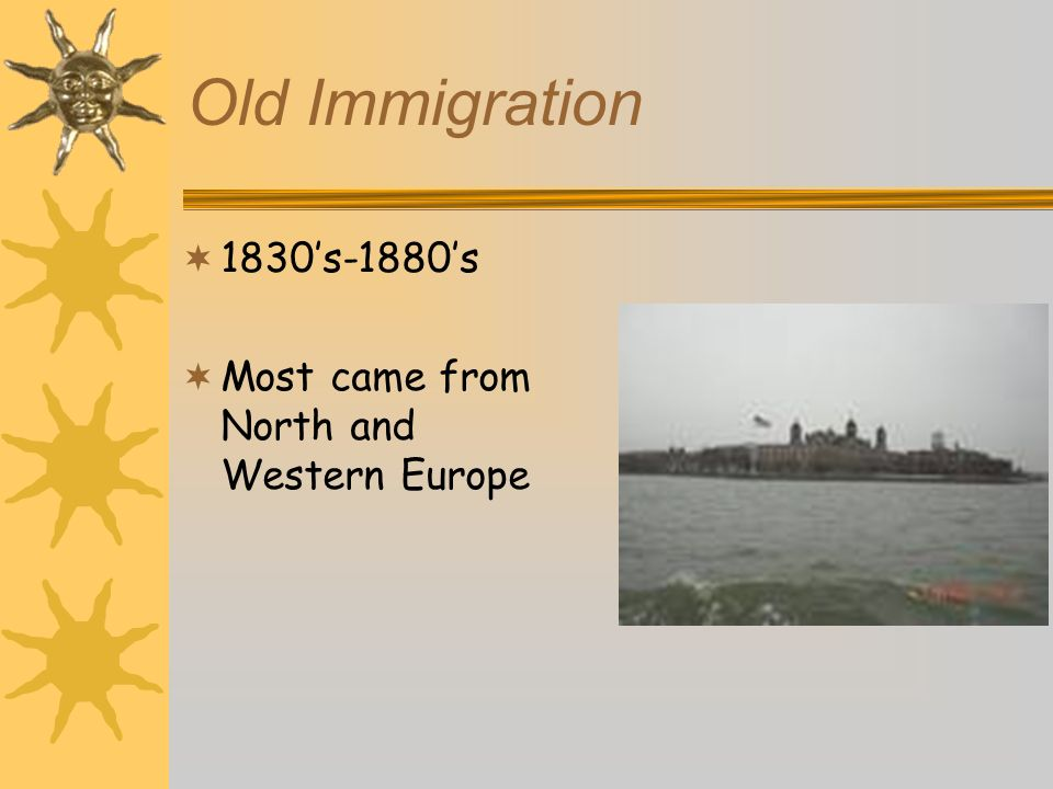 Old Immigration 1830's-1880's Most came from North and Western Europe