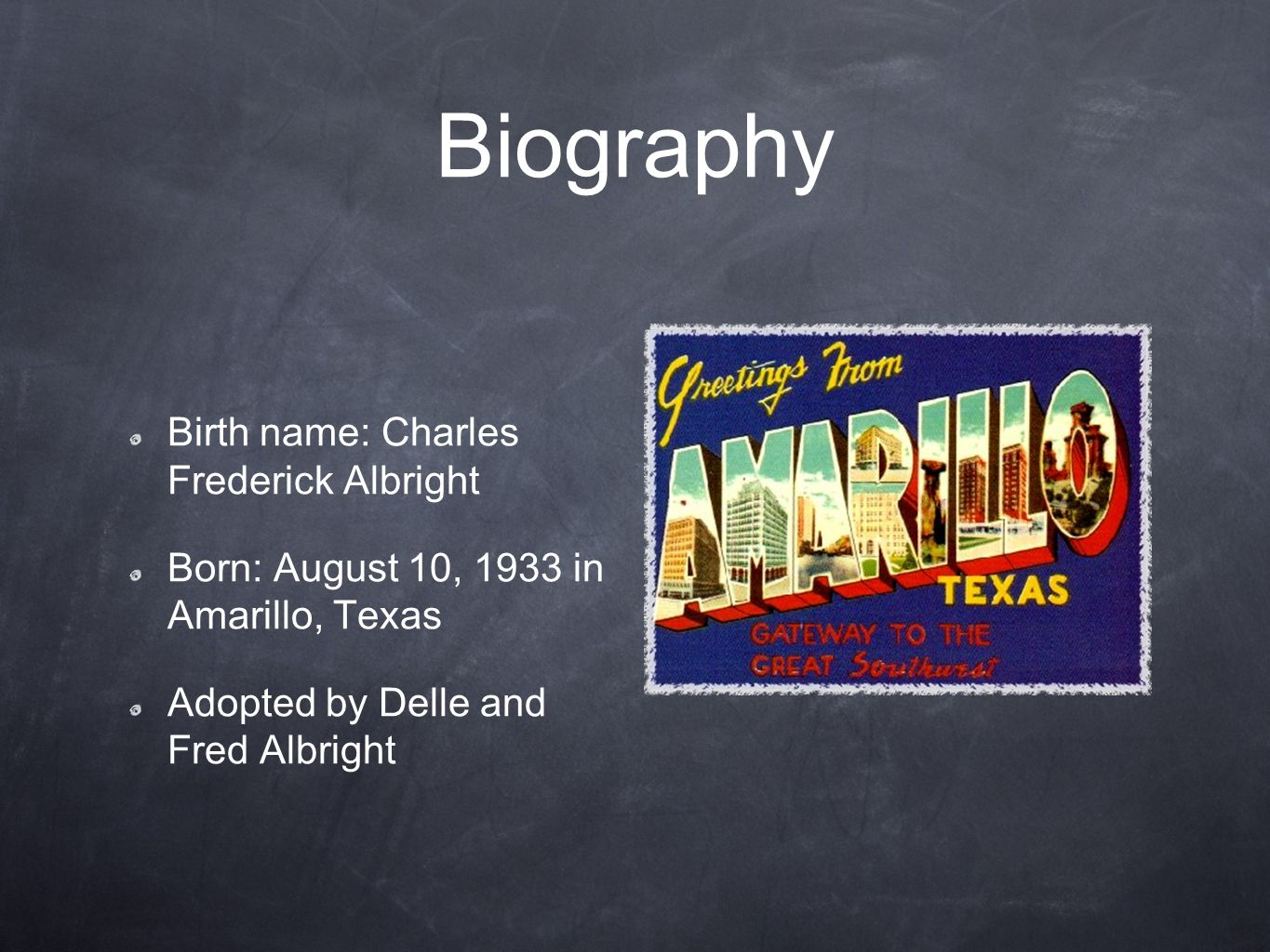 Biography Birth name: Charles Frederick Albright
