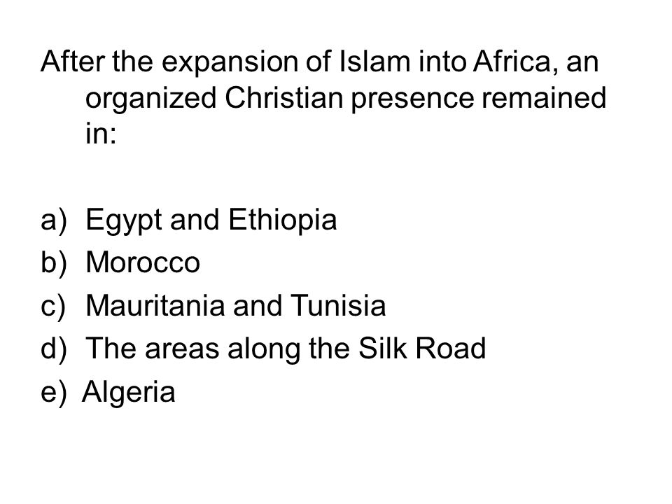After the expansion of Islam into Africa, an organized Christian presence remained in: