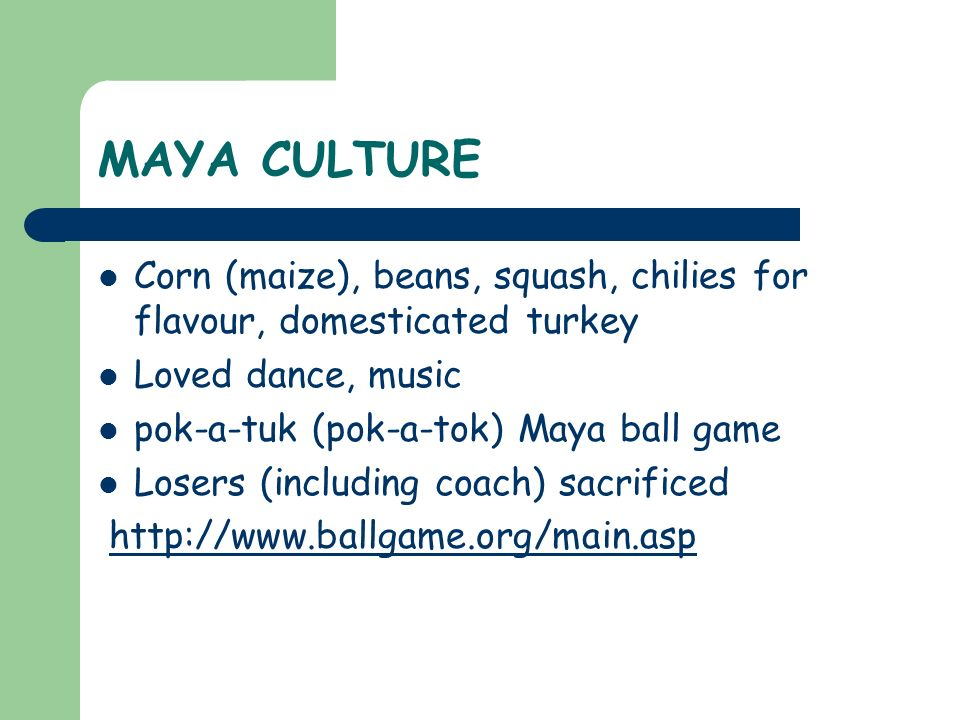 MAYA CULTURE Corn (maize), beans, squash, chilies for flavour, domesticated turkey. Loved dance, music.