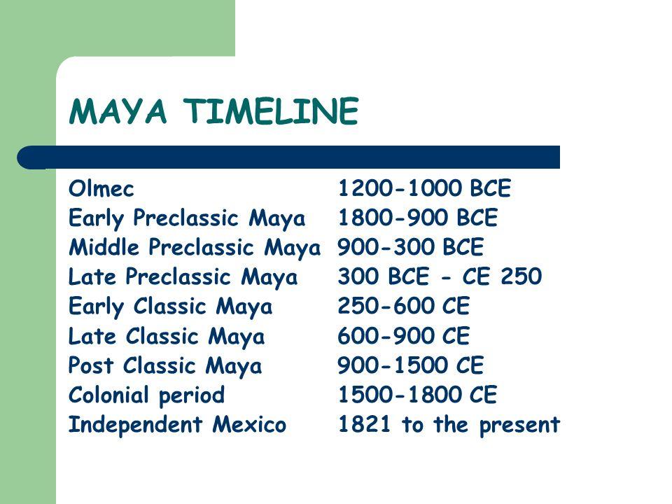 MAYA TIMELINE Olmec 1200-1000 BCE Early Preclassic Maya 1800-900 BCE