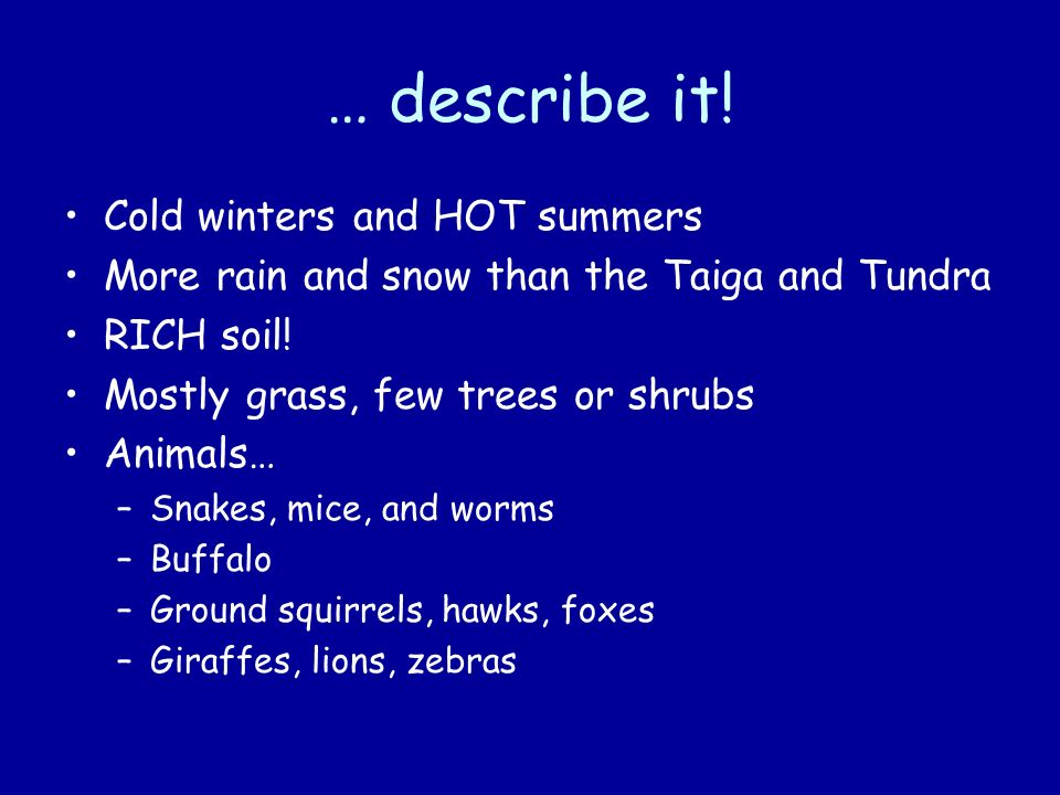 … describe it! Cold winters and HOT summers
