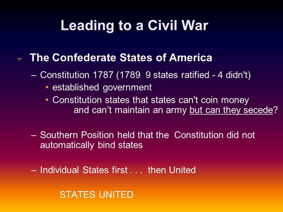 Leading to a Civil War The Confederate States of America. Constitution 1787 (1789 9 states ratified - 4 didn t)