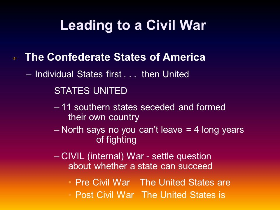 Leading to a Civil War Individual States first . . . then United