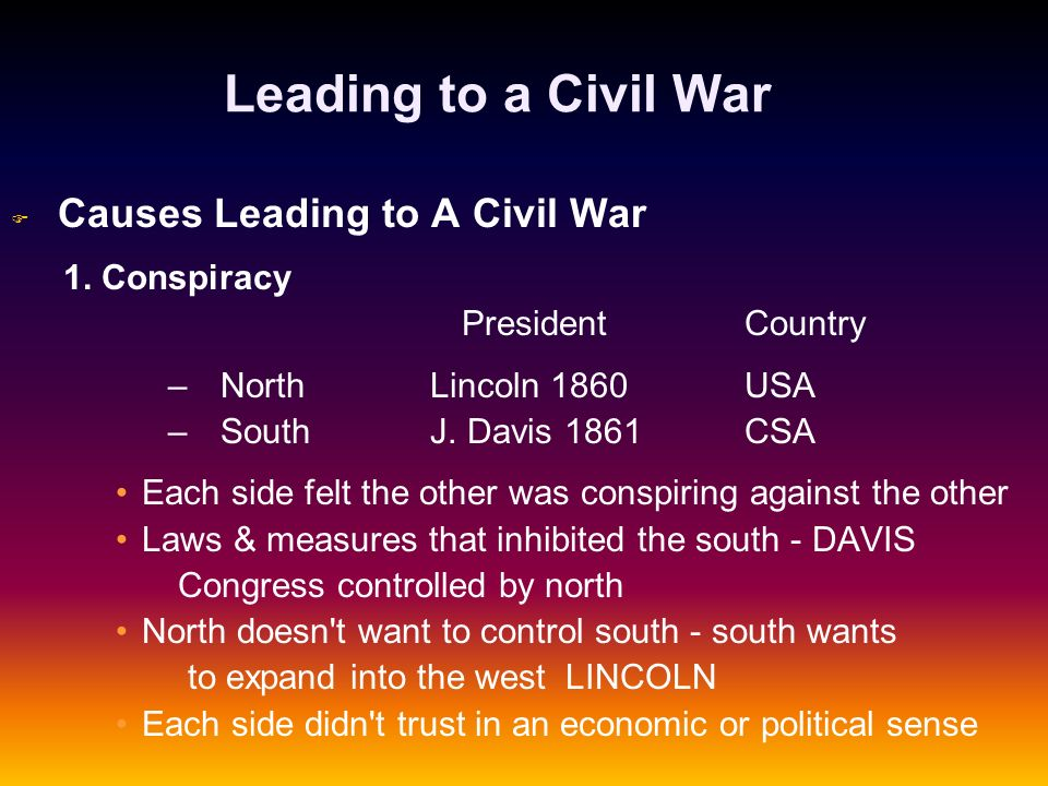 Leading to a Civil War 1. Conspiracy President Country