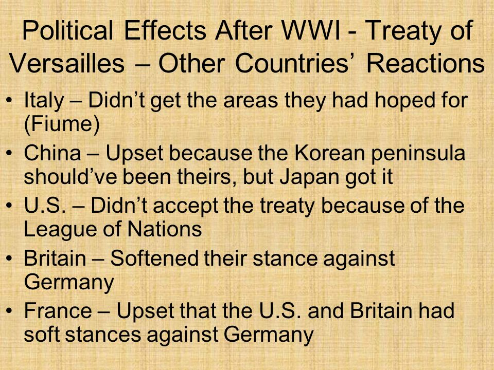 Political Effects After WWI - Treaty of Versailles – Other Countries' Reactions