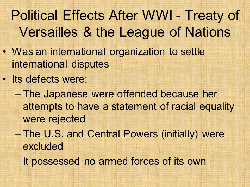 Political Effects After WWI - Treaty of Versailles & the League of Nations