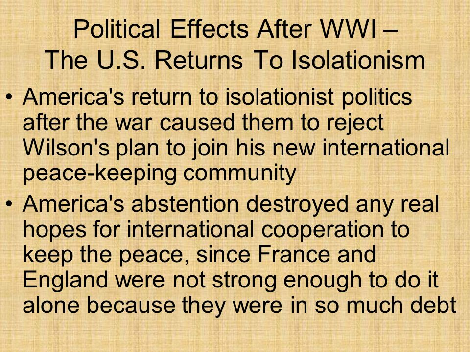 Political Effects After WWI – The U.S. Returns To Isolationism