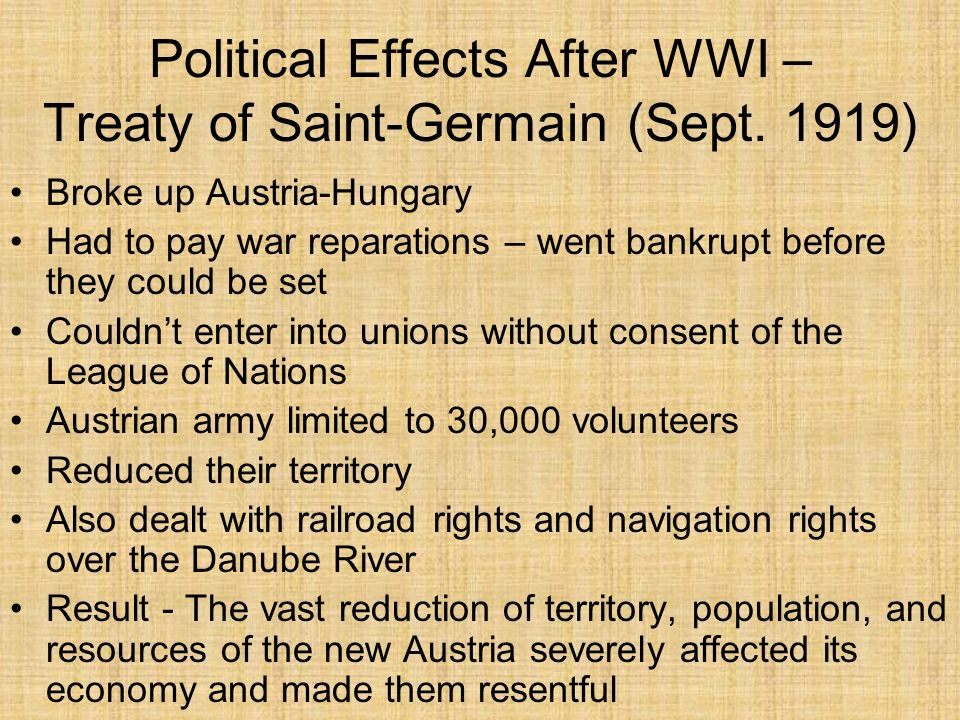 Political Effects After WWI – Treaty of Saint-Germain (Sept. 1919)