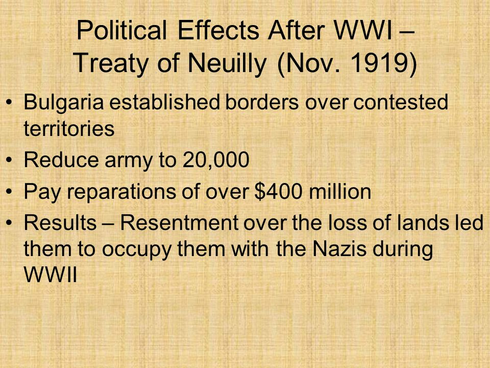 Political Effects After WWI – Treaty of Neuilly (Nov. 1919)