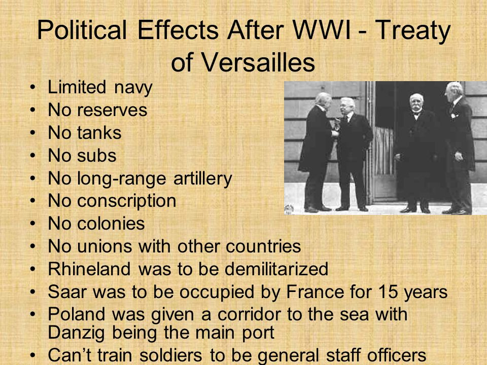 Political Effects After WWI - Treaty of Versailles