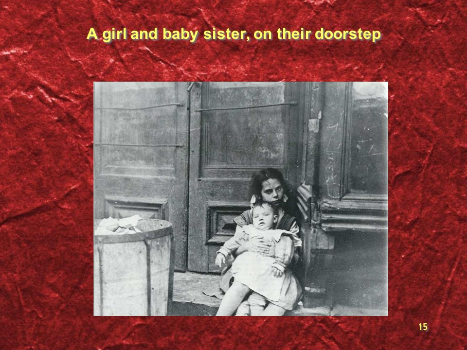 A girl and baby sister, on their doorstep