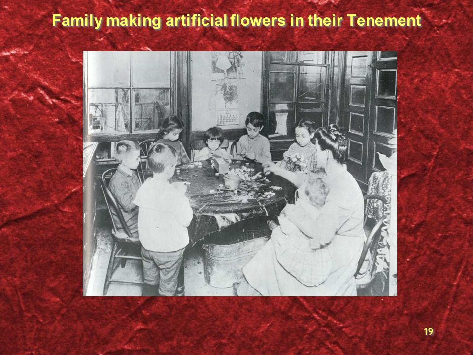 Family making artificial flowers in their Tenement