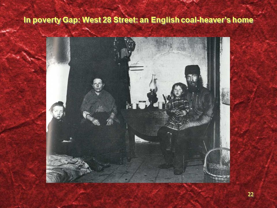 In poverty Gap: West 28 Street: an English coal-heaver's home