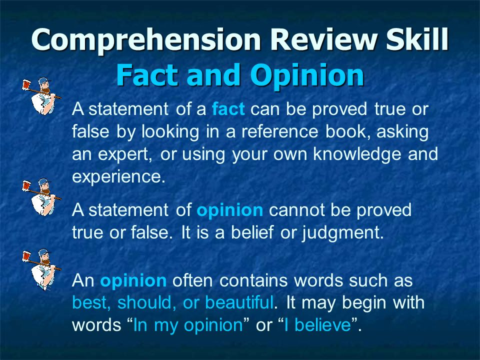 Comprehension Review Skill Fact and Opinion