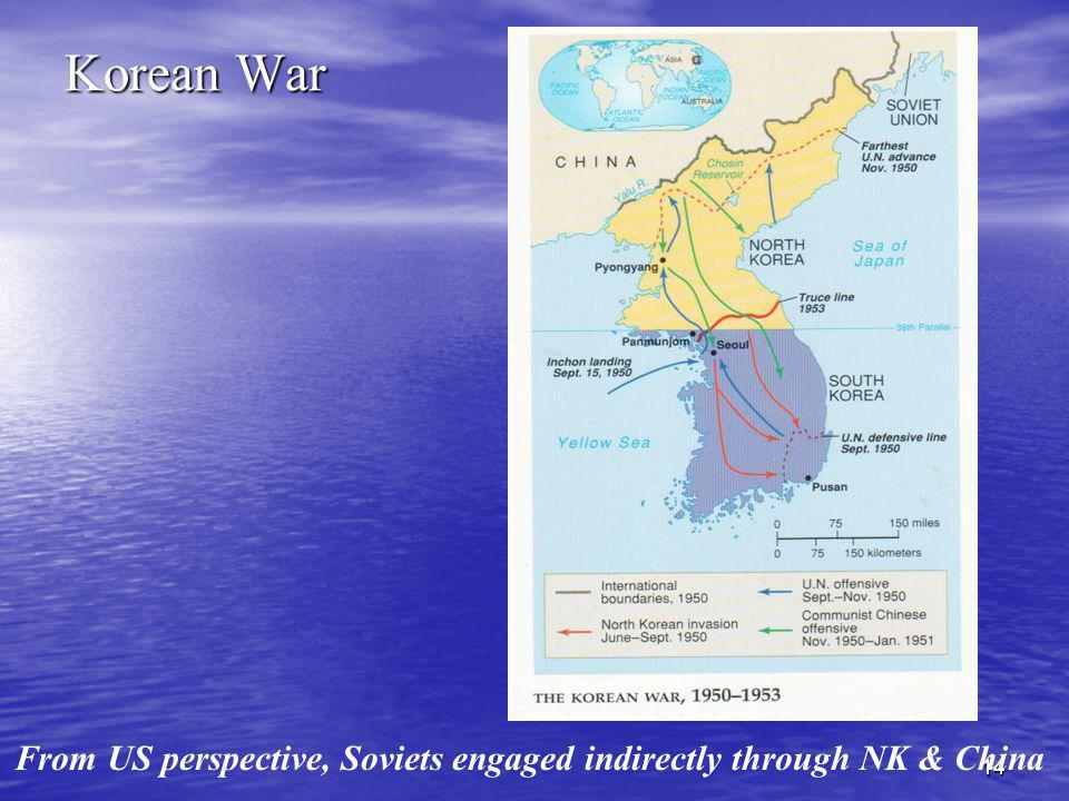 Korean War From US perspective, Soviets engaged indirectly through NK & China