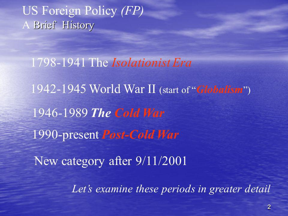US Foreign Policy (FP) A Brief History