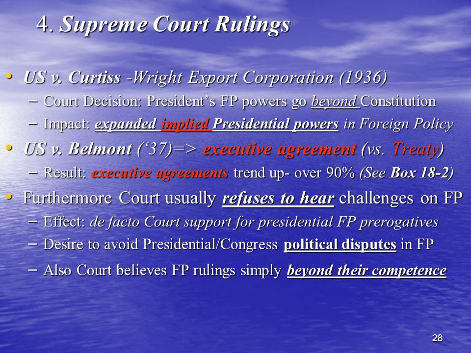 4. Supreme Court Rulings US v. Curtiss -Wright Export Corporation (1936) Court Decision: President's FP powers go beyond Constitution.