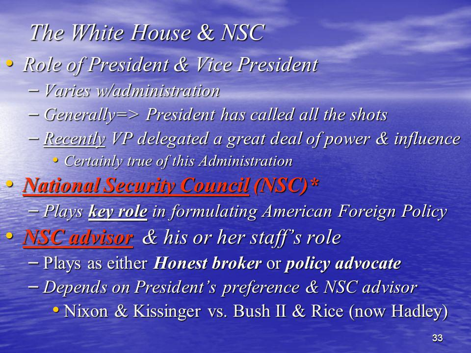 The White House & NSC Role of President & Vice President