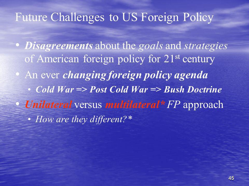 Future Challenges to US Foreign Policy