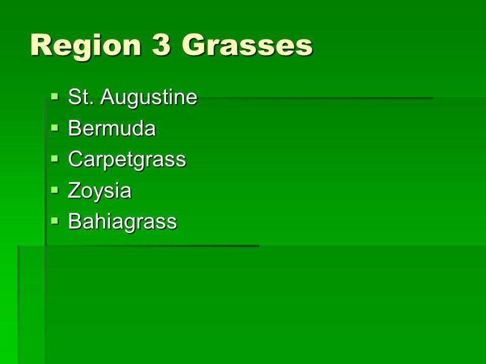 Region 3 Grasses St. Augustine Bermuda Carpetgrass Zoysia Bahiagrass