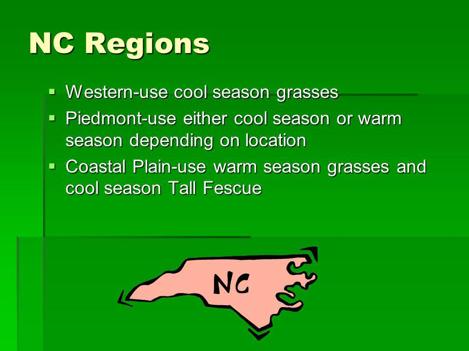 NC Regions Western-use cool season grasses