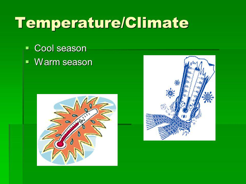 Temperature/Climate Cool season Warm season