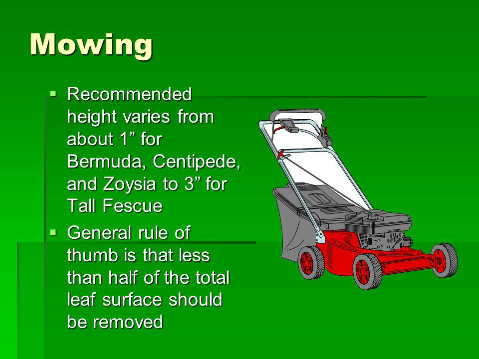 Mowing Recommended height varies from about 1 for Bermuda, Centipede, and Zoysia to 3 for Tall Fescue.