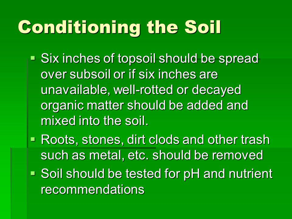 Conditioning the Soil