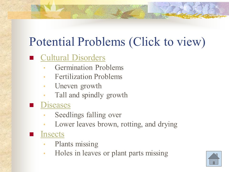 Potential Problems (Click to view)