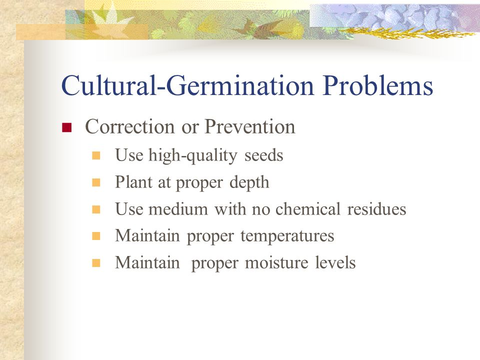 Cultural-Germination Problems