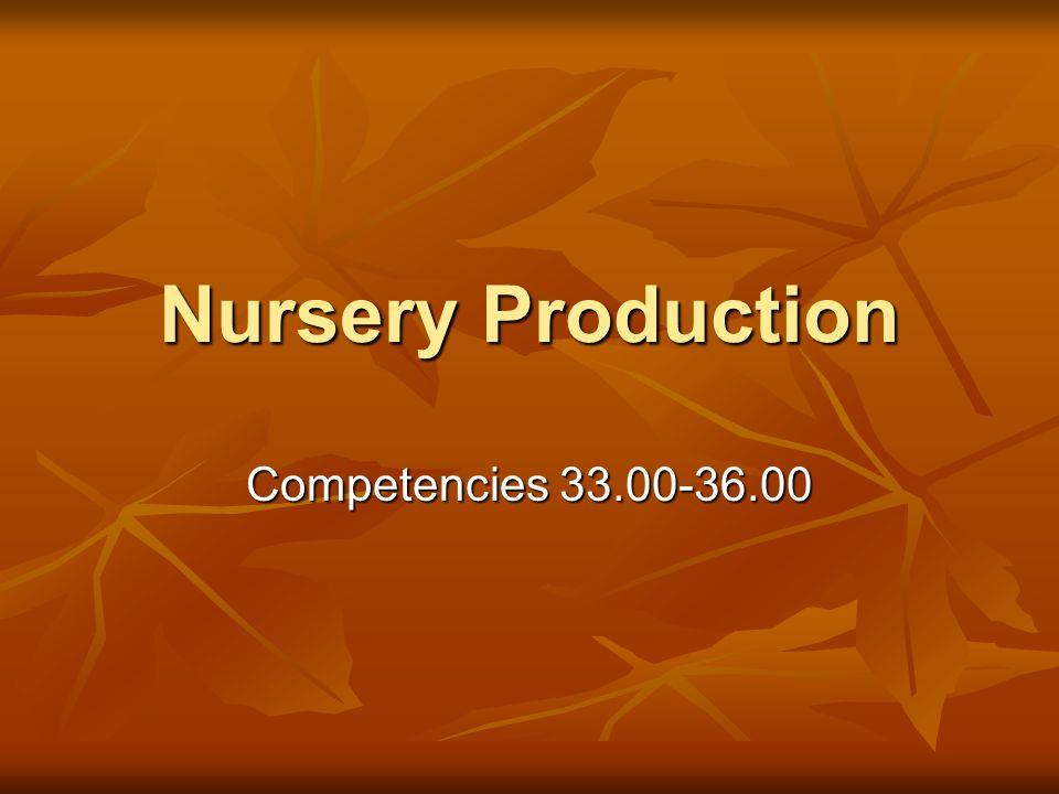 Nursery Production Competencies 33.00-36.00