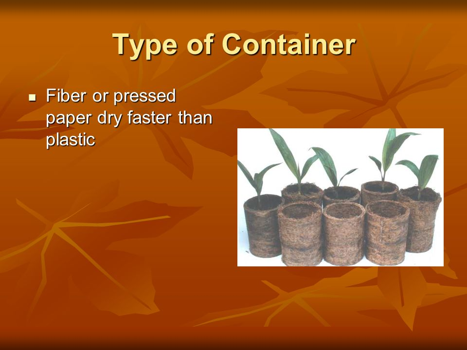 Type of Container Fiber or pressed paper dry faster than plastic