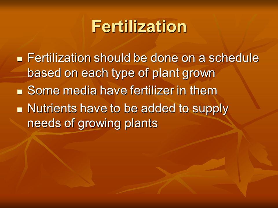 FertilizationFertilization should be done on a schedule based on each type of plant grown. Some media have fertilizer in them.