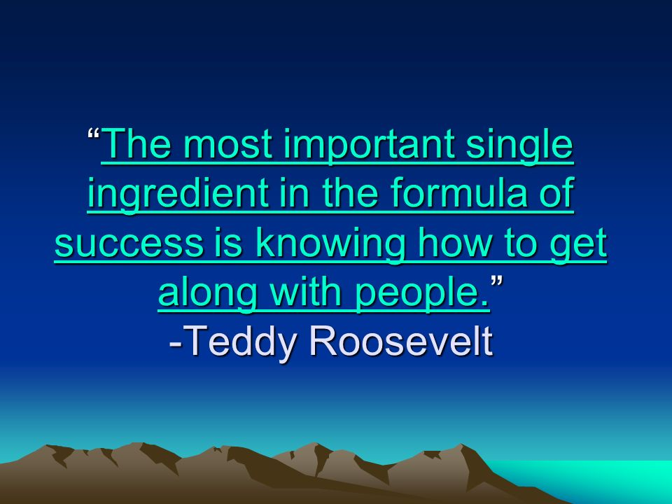 The most important single ingredient in the formula of success is knowing how to get along with people. -Teddy Roosevelt