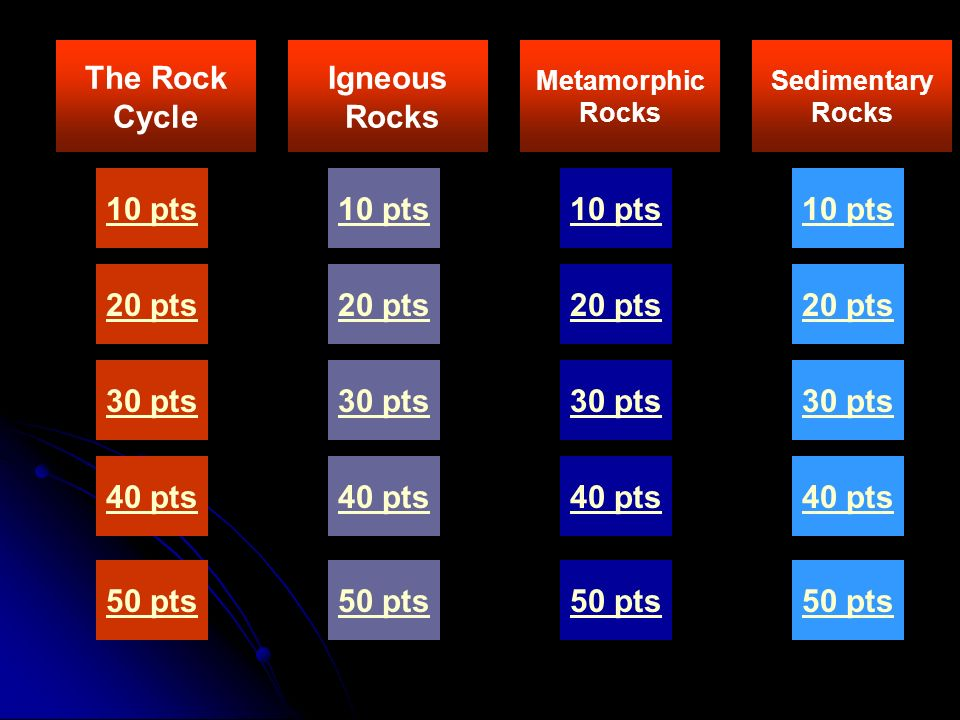 The Rock Cycle Igneous Rocks 10 pts 10 pts 10 pts 10 pts 20 pts 20 pts