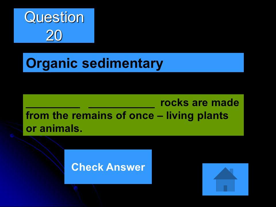 Question 20 Organic sedimentary