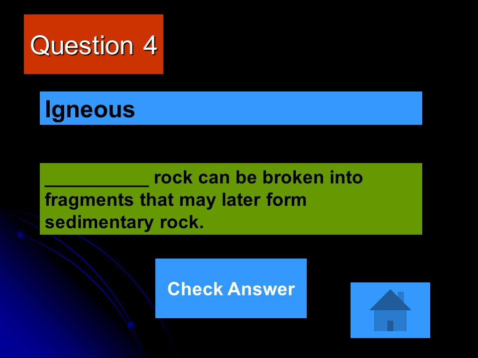 Question 4 Igneous. __________ rock can be broken into fragments that may later form sedimentary rock.