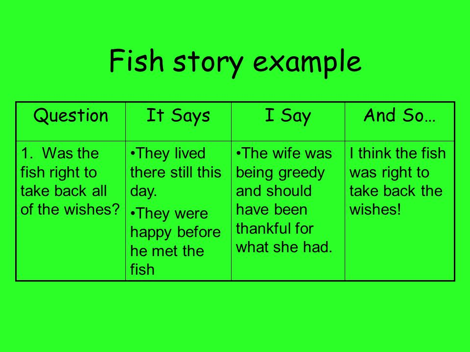 Fish story example Question It Says I Say And So…