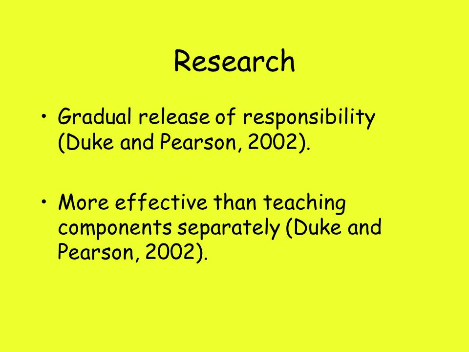Research Gradual release of responsibility (Duke and Pearson, 2002).