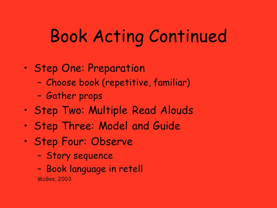 Book Acting Continued Step One: Preparation