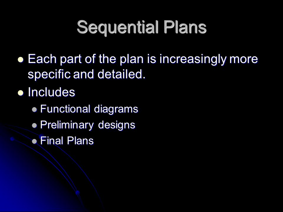 Sequential Plans Each part of the plan is increasingly more specific and detailed. Includes. Functional diagrams.