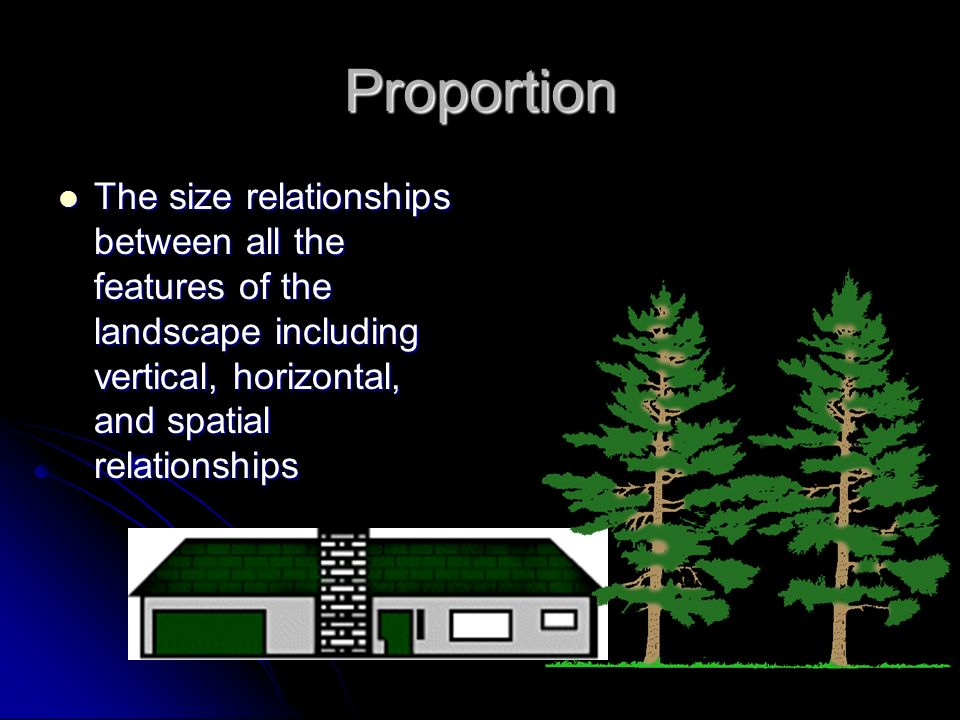 Proportion The size relationships between all the features of the landscape including vertical, horizontal, and spatial relationships.