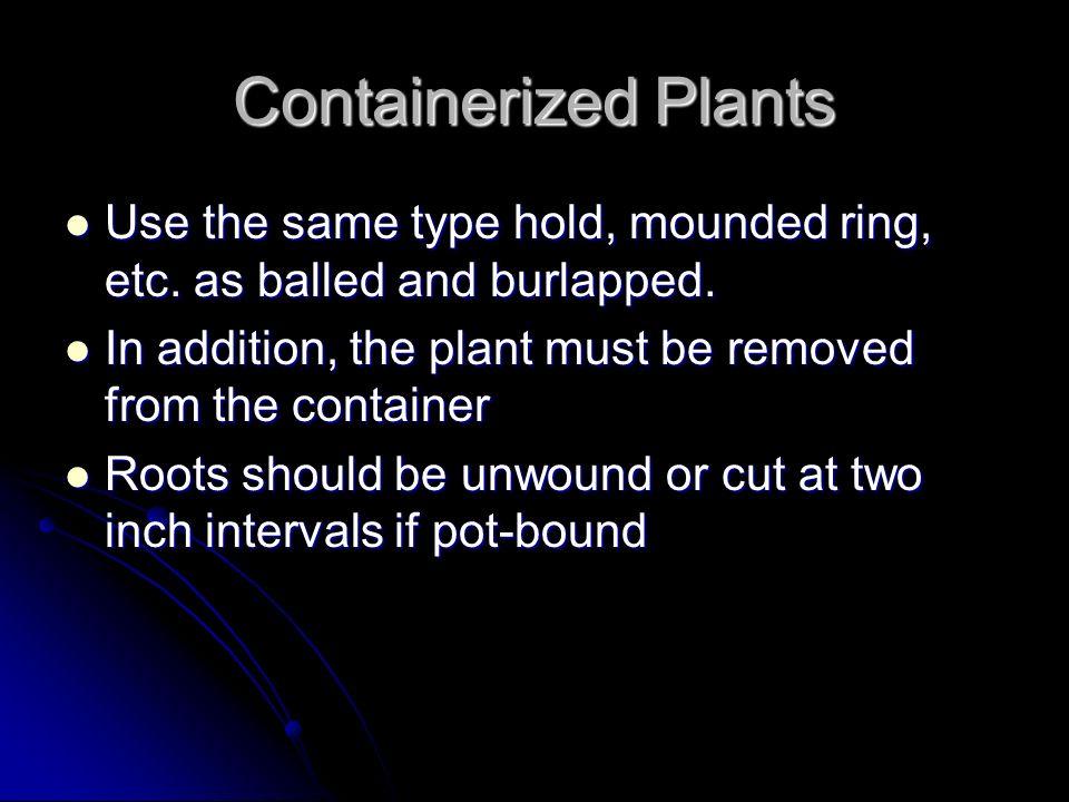 Containerized Plants Use the same type hold, mounded ring, etc. as balled and burlapped. In addition, the plant must be removed from the container.